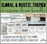 FLORAL & RUSTIC THEMED MIDDLE OR HIGH SCHOOL CLASSROOM DECOR BUNDLE