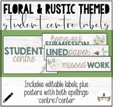 FLORAL & RUSTIC THEMED CLASSROOM DECOR: STUDENT CENTRE LABELS