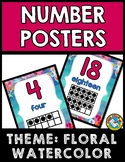 FLORAL WATERCOLOR CLASSROOM DECOR: NUMBER POSTERS WITH TEN FRAMES 1-20