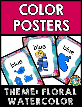 FLORAL WATERCOLOR CLASSROOM DECOR SET (COLOR POSTERS FOR KINDERGARTEN +)