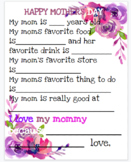 FLORAL watercolor Mothers Day Questionnaire