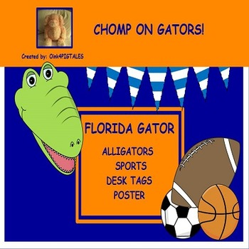 Alligators Sports Theme Desk Plates and Posters Chomp on Gators Set