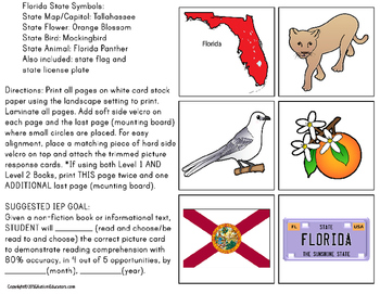 FLORIDA State Symbols Adapted Book for Special Education and Autism