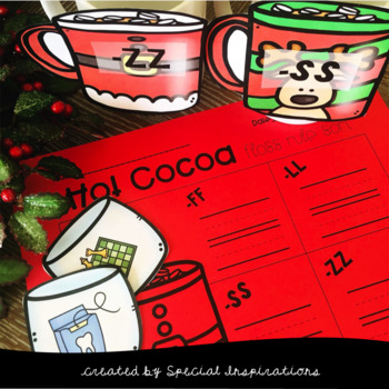 FLOSS Double Consonants (ss, ff, ll, zz) Christmas Hot Cocoa Sorting Activity