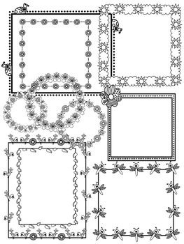 FLOWER BORDER CLIP ART * COLOR AND BLACK AND WHITE