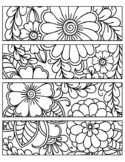 FLOWER COLORING BOOKMARKS, FLOWER FLORAL ACTIVITIES CRAFTS