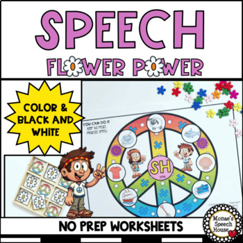 FLOWER PEACE SPEECH  WORKSHEETS EASY PREP NO PREP (Target Dollar Spot)