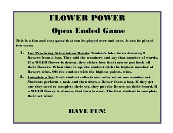 Open Ended Game- FLOWER POWER