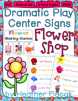 FLOWER SHOP Dramatic Play Signs {P-K}