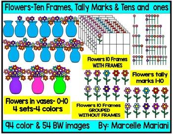 Place value clipart, ten frames & TALLY MARKS CLIP ART- flowers