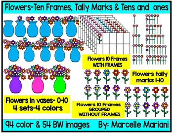 Place value clipart, ten frames & TALLY MARKS CLIP ART- flowers