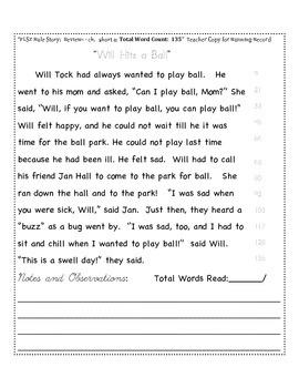 """FLSZ"" Rule Reading Passage:   Fluency Check/Running Record"