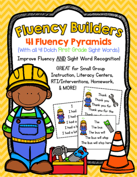 FLUENCY BUILDERS: 41 Dolch First Grade Sight Word Sentence Pyramids