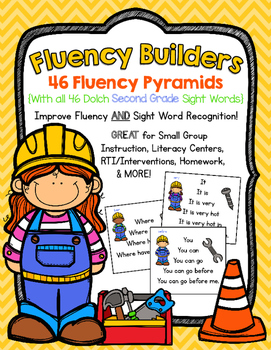 FLUENCY BUILDERS: 46 Dolch Second Grade Sight Word Sentence Pyramids
