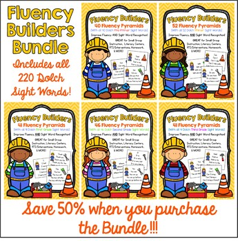 FLUENCY BUILDERS BUNDLE: 220 Dolch Sight Word Sentence Pyramids