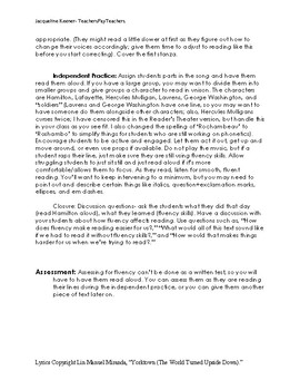 FLUENCY Lesson Plan/Group Activity: Reader's Theater with Hamilton (With Script)