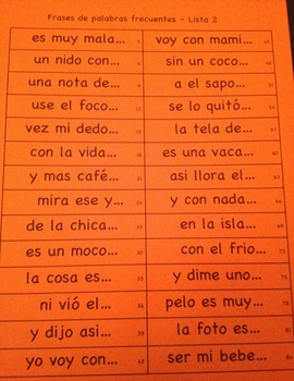 FLUIDEZ:  Frases Palabras Frecuentes Lista 2