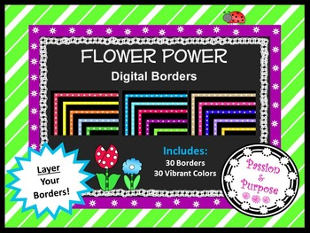 Digital Borders with Flowers - Many Popular Colors - Freebie!