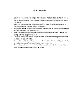 Speech Therapy-Special Education-Hearing Impaired-FM system plan