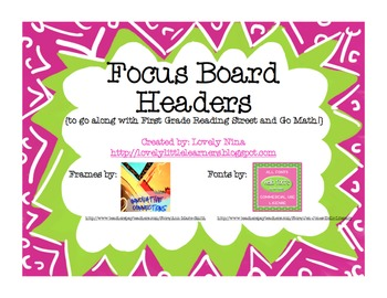 FOCUS BOARD (to use with CC Reading Street and CC Go Math!)