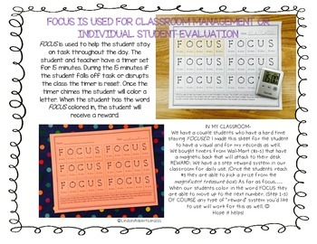 FOCUS Behavior/ Classroom management