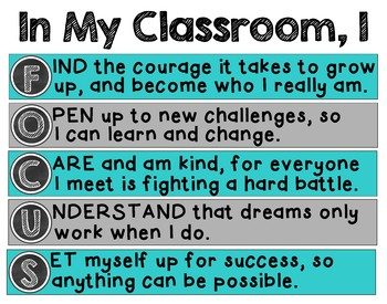 FOCUS Classroom Mission Statement: Teal, Gray, and Black Color Scheme