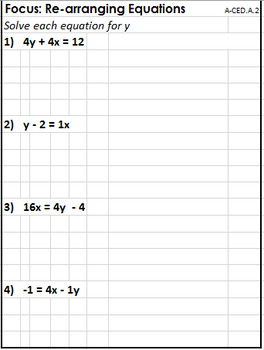 FOCUS: Re-arranging Equations