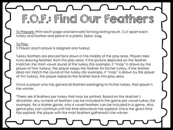 Find Our Feathers [A Turkey Short Vowel Activity]