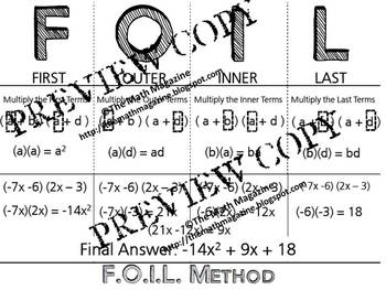 FOIL Method Multiply Binomials Foldable Interactive Notebook Graphic Organizer