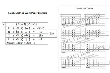 FOIL Method Multiplying Binomials Graphic Organizer IEP Accommodation