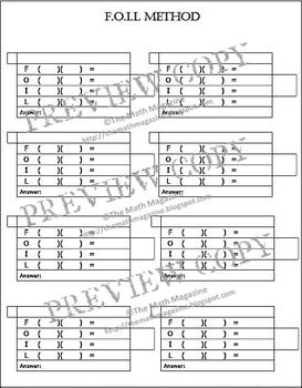 FOIL Method Multiplying Binomials Worksheet with Key A-SSE.3b, A-APR.1, 4