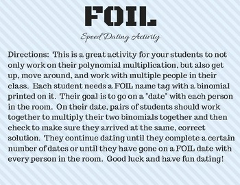 FOIL Speed Dating - Binomial Multiplication