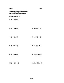 FOIL Worksheet