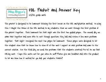 FOIL-ing Homework Packet