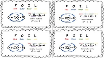 FOIL method handouts for binomial multiplication
