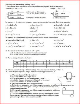 FOILing and Factoring - FOIL - Factor - Spring 2013 (Editable)