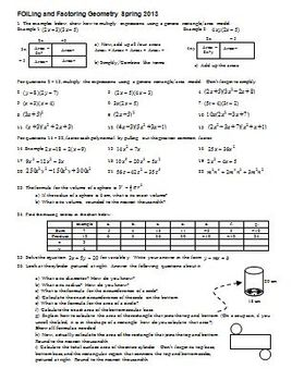FOILing and factoring Geometry Spring 2013 (Editable)
