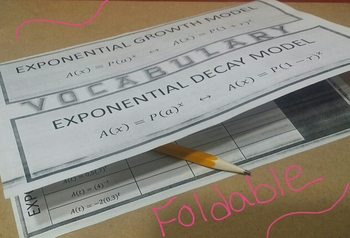FOLDABLE - Exponential Functions: Growth/Decay Factor, Rate, Formula
