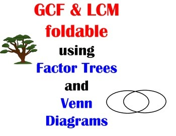 FOLDABLE:  GCF and LCM using factor trees and Venn Diagrams
