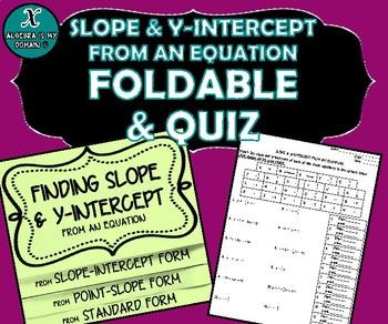 FOLDABLE & QUIZ - Algebra - Slope & Y-Intercept from an Equation