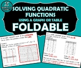 FOLDABLE - Solving Quadratic Functions Using Graph or Table