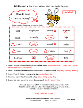 FOLLOW DIRECTIONS  LANGUAGE SKILLS  INSECT VOCABULARY  Gr. 3-4-5