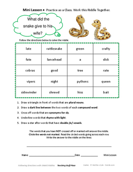 FOLLOW DIRECTIONS SNAKES' VOCABULARY Language Skill Riddle Activities  Gr 3-4-5
