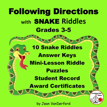FOLLOW DIRECTIONS SNAKES' VOCABULARY Language Skill Riddle