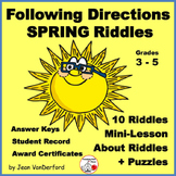 Follow Directions | Spring Riddles | Review Language | Mini Lessons | Gr 3-4