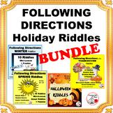 FOLLOW DIRECTIONS Holiday Themes $$$ BUNDLE Gr 3,4,5 ... CORE ELA Skills
