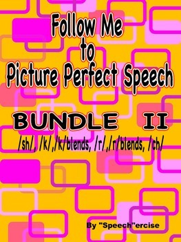 FOLLOW ME TO PICTURE PERFECT SPEECH BUNDLE II- /K/, /SH/,/CH/, /R/ , /R/Blends