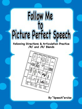 FOLLOW ME TO PICTURE PERFECT SPEECH-Follow Directions Articulation /R/ & Blends