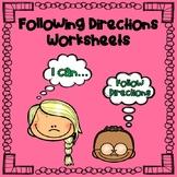 FOLLOWING DIRECTIONS WORKSHEETS:  Seasonal Themes