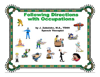 FOLLOWING DIRECTIONS with OCCUPATIONS for Speech Therapy